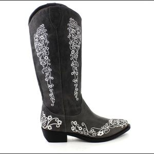C Label Topaz Embroidered Western Cowgirl Boots